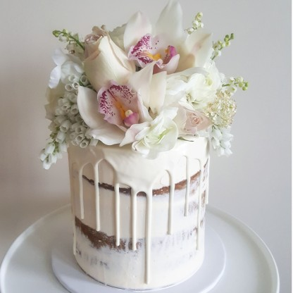 Engagement Cake, Semi Naked Cake