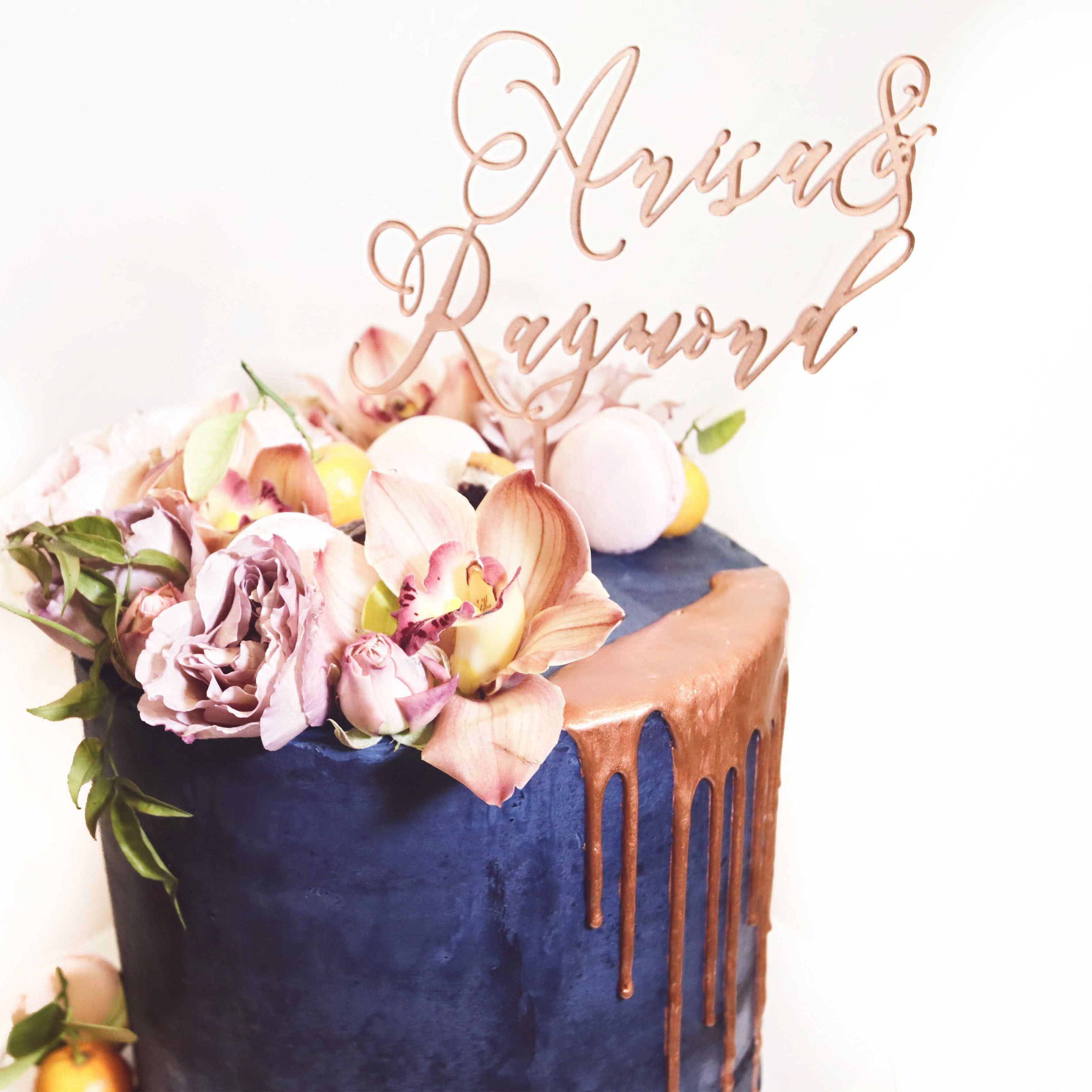 Sweetlilycakesblog sweet lily wedding cake copper drip cake with cake topper dhlflorist Choice Image