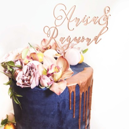 Wedding Cake, Copper Drip Cake with Cake Topper