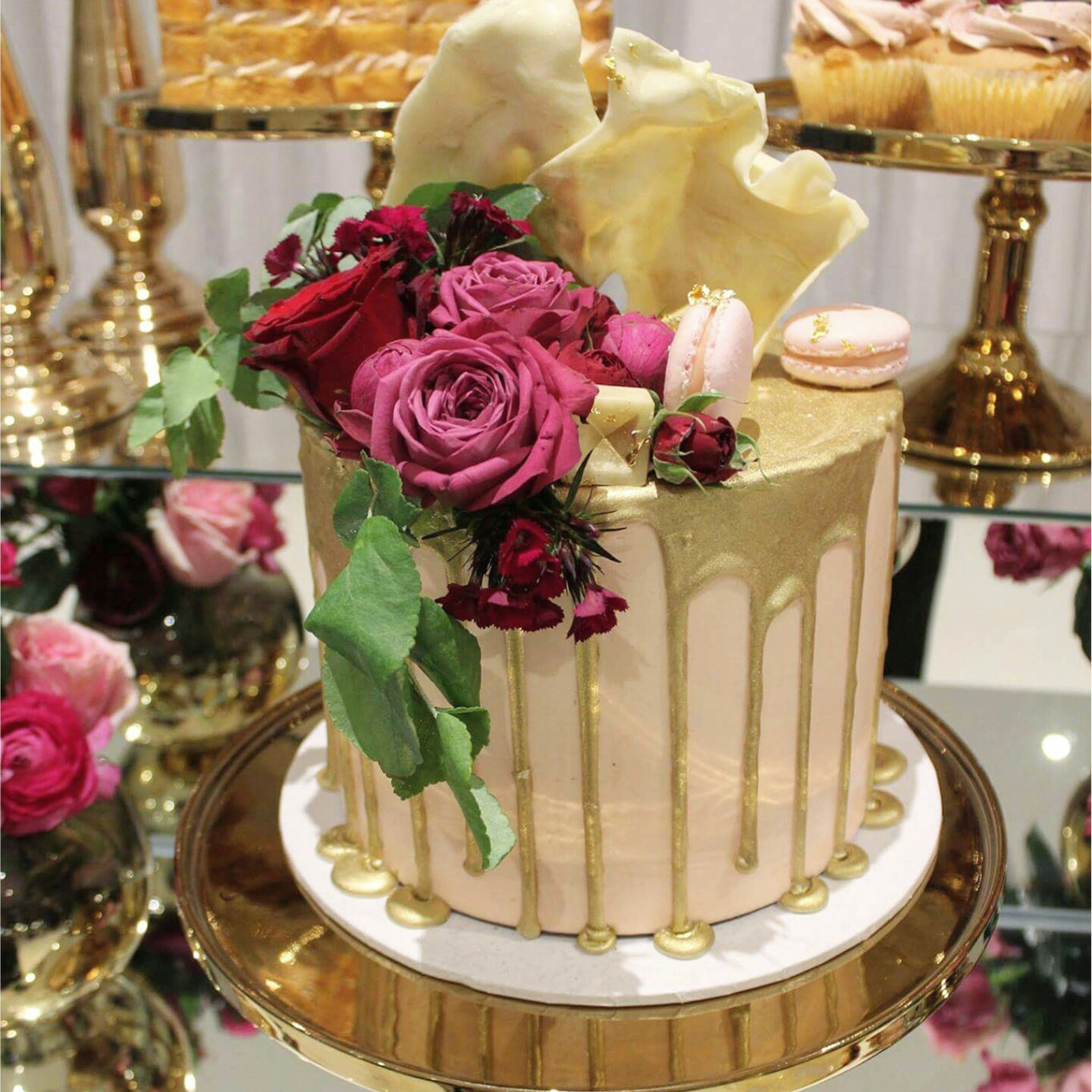 Sweetlilycakesblog sweet lily engagement cake gold drip dhlflorist Choice Image