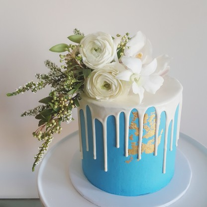 Boys Baby Shower Cake, Single Tier Drip